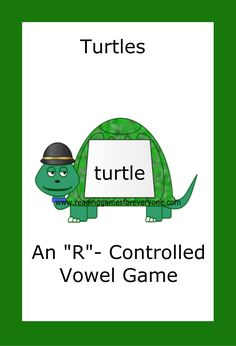 """This set of """"R"""" controlled vowel cards is correlated to the American Reading Company IRLA, Level Zone however it is not created by nor provided by the American Reading Company. American Reading Company, Reading Games, Sight Words, Grade 1, Turtle, Ads, Turtles, Tortoise, Puns"""