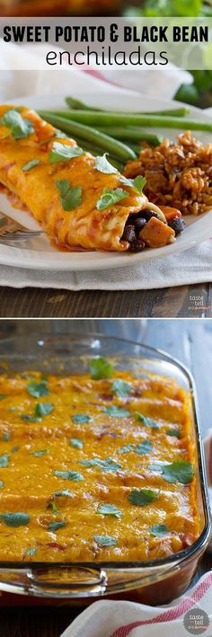 These vegetarian Sweet Potato and Black Bean Enchiladas are packed with flavor  - perfect for a Tex-Mex dinner on a budget!