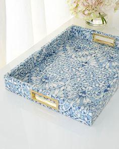"Aerin Printed Floral Tray. Made of Wood. Dimensions: 23""L x 16""W x 4""T; Interior Dimensions: 20""L x 14""W"