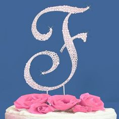 Fully Covered in Crystal Monogram Wedding Cake Topper Letter - Letter F * Sensational bargains just a click away : Baking decorations