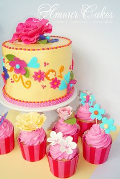 - Pretty Flowers Girls Themed Cake and Cupcakes