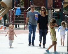 Jessica Alba with Cash Warren and family are seen.at the park.