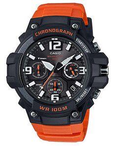 Casio Men's Chronograph Quartz 100m Black/Orange Resin Watch MCW100H-4AV