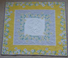 Gorgeous recycled grey and yellow vintage tablecloth custom quilted wallhanging