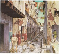 A Roman Slum with a Tavern. (circa AD 100) (Peter Connolly/insulae /user: Aethon)