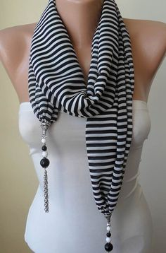 Jewelry Necklace Scarf - Jewelry Scarf - Black and White Striped Chiffon Fabric - with Beads and Chain - Trendy - Fashion