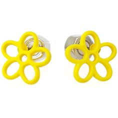 Marc by Marc Jacobs Rubberized Daisy Studs ($42) ❤ liked on Polyvore featuring jewelry, earrings, accessories, yellow, post earrings, marc by marc jacobs, stud earrings, daisy jewelry and daisy flower jewelry