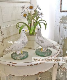 """Bringing a Hint of the """"Outside ~ In""""   FaB PaTiNa on these Naturally Time-Worn   ViNtaGe Concrete Dove Birds..."""