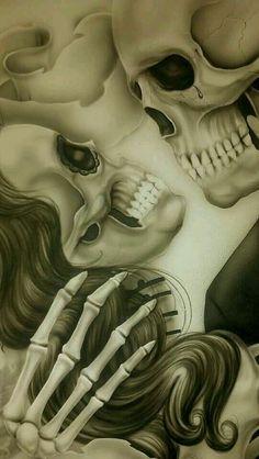 Images of the World Skeleton Love, Skeleton Art, Rosen Tattoo Frau, Arte Lowrider, Sugar Skull Tattoos, Sugar Skulls, Sugar Skull Artwork, Day Of The Dead Art, Skull Wallpaper
