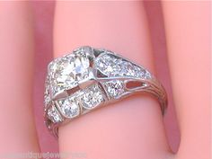 Antique Art Deco 2ct Euro Diamond Engagement Ring 1930   eBay