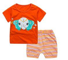 Baby Boys Girls Summer Pajamas Sets Tshirts+shorts Children Cartoon Sleepwear 2-7T