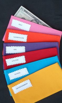 6 Plain Duck Canvas fabric ENVELOPES (it can be used with the Dave Ramsey Busget System) -pink, orange, purple, red, teal, yellow via Etsy
