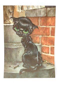 Gig Pitty Kitty Big Eye Print Sad Eye by TheModPasse on Etsy