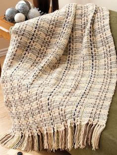 "Speckled Plaid Afghan Easy Size: 36"" x 55"", excluding fringe. Made with medium (worsted) weight yarn and size H/8/5mm hook."
