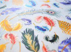 Florentine paper  Feather pattern