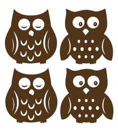 Sleepy owls and wide awake owls are super cute for your child's walls. Make a nursery extra special with these brown silhouette owl decals. Soothe bedtime fears and encourage imagination with these friendly owl wall decals. Owl Silhouette, Silhouette Images, Silhouette Portrait, Silhouette Machine, Silhouette Cameo Projects, Silhouette Design, Owl Wall Decals, Wall Art, Wall Stickers