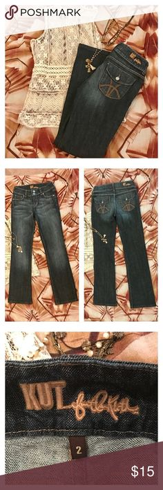 """Kut from the Kloth Jeans Dark wash jeans. Flap back pockets. Size 2. These jeans were hemmed to an inseam of 31"""". Kut from the Kloth Jeans"""