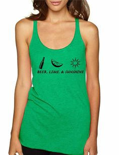 ba54e061fd81ec Beer lime and sunshine Women s Triblend Racerback Tank Top Clothing shirt  summer party sun summertime sea