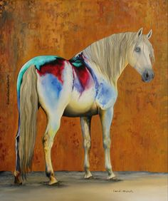 """""""Kingdom Within"""", oil on canvas by Landi-Michelle. #landimichellearts #landimichelle #horse #whitehorse #abstract #abstracthorse #magical #beautiful #beautifulday #art #artist #artistlife #amazing"""