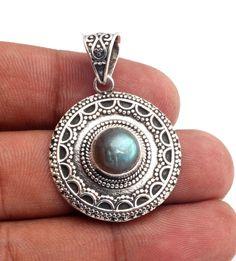 CHRISTMAS GIFT Natural Labradorite Handmade 925 Sterling Silver Pendant Jewelry #Handmade #Pendant