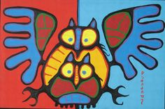 Owl Family by Norval Morrisseau Native Canadian Artist kK Inuit Kunst, Arte Inuit, Inuit Art, Art Haïda, Owl Art, Native Art, Native American Art, Native Canadian, Canadian History