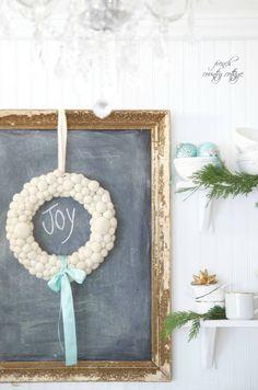 pom pom wreath, farmhouse Christmas, Rustic Christmas, Chalkboard,