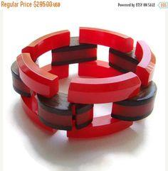 ON SALE Cherry Red Bakelite Link Bracelet Wood Accent Vintage