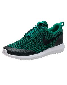 NIKE Roshe NM flyknit SE sneaker Men's low top shoe Lace up closure Knit, woven & textured upper w... True to size. Knit, woven materials. Green 816531-300.