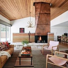 The ever so beautiful River Ranch featured in @interiordesignmag designed by @jobe_corral_architects. We are living for the materials, details and that fireplace!  Photography credit: Casey Dunn courtesy of Jobe Corral Architects.