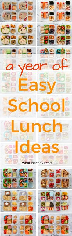 A whole year of easy school lunch packing ideas from http://WhatLisaCooks.com. If you need ideas for what to pack for school lunch, look no further!
