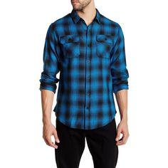 Burnside Eldon Long Sleeve Regular Fit Flannel Shirt ($20) ❤ liked on Polyvore featuring men's fashion, men's clothing, men's shirts, men's casual shirts, blue, mens pleated shirt, mens blue flannel shirt, mens casual long sleeve shirts, mens flannel shirts and men's regular fit shirts