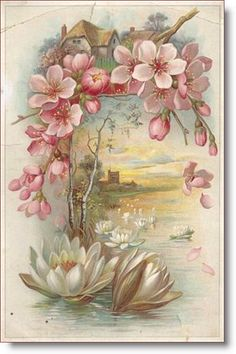 blank Victorian card scenic cottage water lily