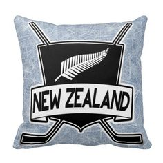 New Zealand Ice Hockey Flag Pillow. Check out this custom made throw pillow. $29.95. To see this design on the full range of products, please visit my store: www.zazzle.com/gamefacegear*/ #HockeyPillows #IceHockey   #NewZealand