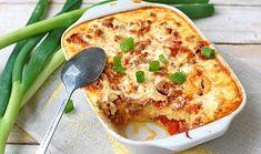 Zapečená polenta s mletým masem Polenta, Quiche, Cauliflower, Mashed Potatoes, Macaroni And Cheese, Cooking Recipes, Vegetables, Breakfast, Ethnic Recipes