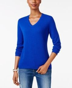 Charter Club Cashmere V-Neck Sweater, Only at Macy's - Blue M