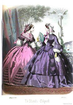 1850s Fashion, Edwardian Fashion, Vintage Fashion, 19th Century Fashion, 18th Century, Civil War Fashion, Civil War Dress, Fashion Illustration Vintage, Victorian Costume