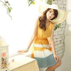 Mayuki Tokyo Fashion Sleeveless Plain Top Stripe Bottom Pleated Dress 2026002   eBay