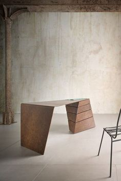 ''Torque'' Desk by Alessandro Isola Ltd Makingofs is part of pencil-drawings - A twisting take on a traditionally formal product In this instance the desk has been transformed into a dynamic spatial object in tension with the Design Furniture, Unique Furniture, Office Furniture, Contemporary Couches, Counter Design, Vanity Desk, Interior Decorating, Interior Design, Distressed Furniture