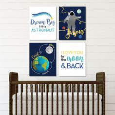 Let your child dream to new heights and share a million miles of love with you! Outer Space Nursery, Outer Space Theme, Space Themed Nursery, Baby Nursery Art, Nursery Artwork, Star Nursery, Baby Boy Nurseries, Nursery Themes, Nursery Decor