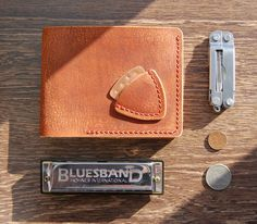 The Rustic Leather Wallet, Musician's wallet, Biker Wallet, Guitar Pick, SD card holder