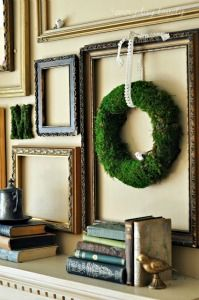 add a green wreath to your frame wall decor