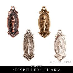 Miraculous Medallion Dispeller Charm for Charm Bracelets. Virgin Mary Charm. Sold as single. Choose your color. From Annie Howes.