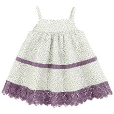Trapeze-shaped dress with spaghetti straps, made of flower-printed percale fabric. #babygirl #cute