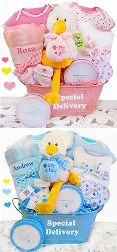 Looking for new baby items? Look up little one bathe and christening gifts new moms and dads and newborn baby would love, which can include enfold blankets, plush toys and even more. Baby Shower Host, Personalized Baby Shower Favors, Baby Shower Gift Basket, Baby Hamper, Baby Baskets, Baby Shower Parties, Baby Shower Gifts, Baby Gifts, Cute Gift Wrapping Ideas