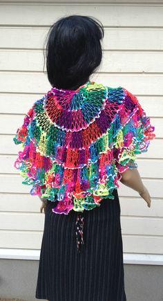 Crochet Sashay Neon Shawl ruffle scarf elegant wrap by Pipilota