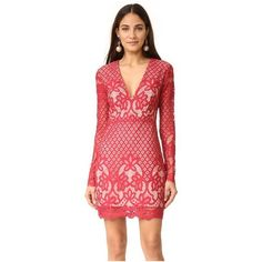 STYLESTALKER Lani Long Sleeve Dress ($180) ❤ liked on Polyvore featuring dresses, earth red, long sleeve v neck dress, sheer lace dress, long-sleeve lace dress, red v neck dress and v neck lace dress