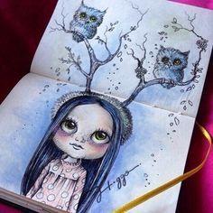 рисунок, скетчбук, совы, артбук, личный дневник, арт, девушка, девочка, рисунок