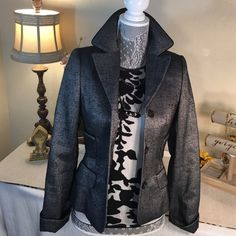 Escada ⚜Stunning Black & Gray Silk Jacjet Escada⚜Gorgeous Charcoal Gray Jacket with Black Accents!  Fabulous tailored jacket with beautiful black piping!  Excellent condition.. One Owner! Escada Jackets & Coats Blazers