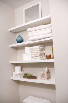 Floating bathroom shelves with pocket holes
