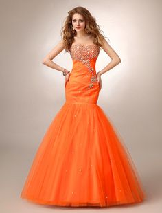 Design your own Sweetheart Beaded Tulle Brush Train Orange Trumpet Mermaid Evening Prom Dress at Oridress. Shop the best quality Sweetheart Beaded Tulle Brush Train Orange Trumpet Mermaid Evening Prom Dress t the most affordable prices! Stunning Prom Dresses, Prom Dresses 2015, Cheap Prom Dresses, Casual Dresses, Formal Dresses, Wedding Dresses, Long Dresses, Tulle Prom Dress, Mermaid Prom Dresses